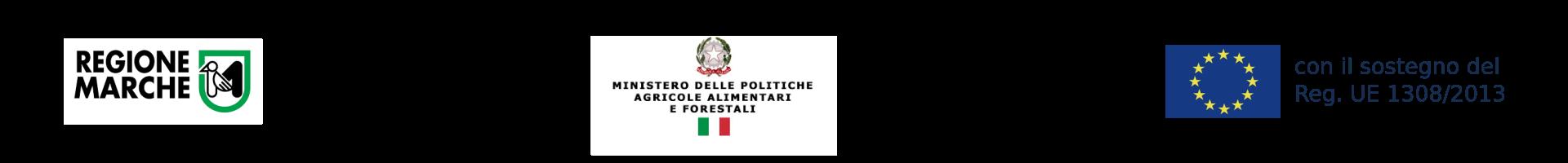 Loghi regione Marche, Ministero Politiche Agricole, UnioneEuropea con il sostegno del Reg. UE 1308/2013
